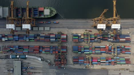 Flying-Over-Shipping-Container-Port
