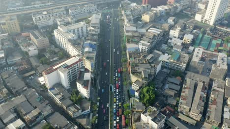 Flying-Over-Main-Road-in-Bangkok