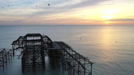 Drone-Flight-Orbiting-Old-Pier-Ruins-1