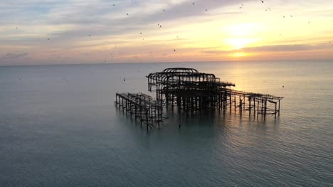 Drone-Flight-Orbiting-Old-Pier-Ruins-2
