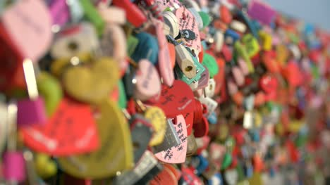 Love-Locks-on-Railings-at-Seoul-Tower