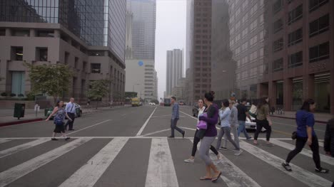 Pedestrians-Crossing-Road-in-Downtown-LA