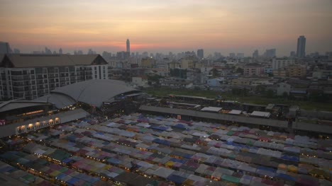 Bangkok-Skyline-and-Ratchada-Market