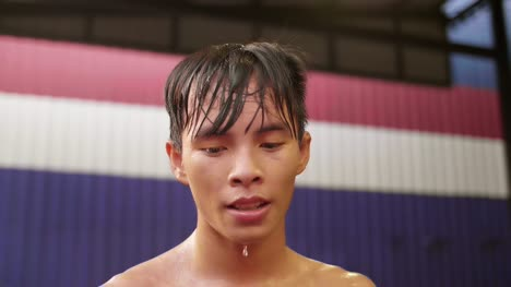 Muay-Thai-Boxer-Dripping-Water