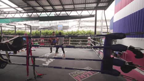 Muay-Thai-Fighters-Sparring-In-Ring