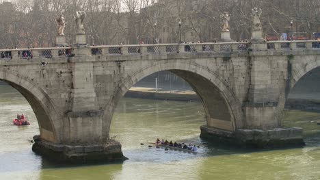 Rowers-Under-Sant-Angelo-Bridge-in-Rome