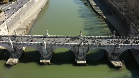 Aerial-Shot-Of-Sant-Angelo-Bridge