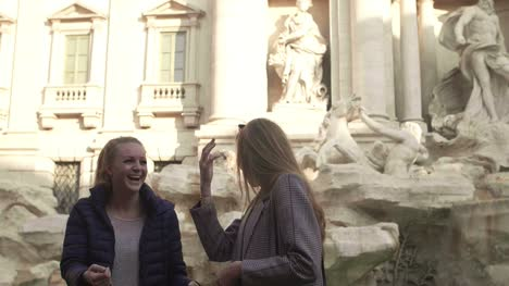 Laughing-In-Front-Of-Trevi-Fountain