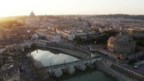 Aerial-Dusk-Shot-Of-Vatican-City-