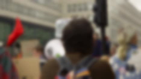 Blurry-Protest-Scene-With-Megaphone