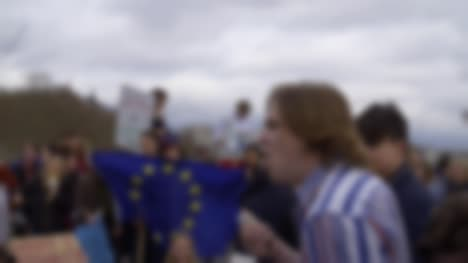 Megaphone-and-EU-Flag-at-Protest