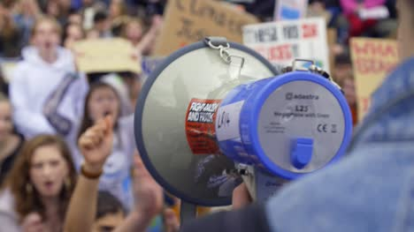 Megaphone-Being-Used-In-A-Protest