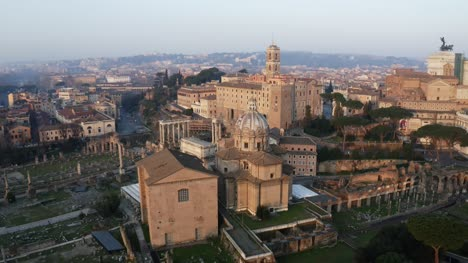 Orbit-Shot-Of-Roman-Temples-And-Church