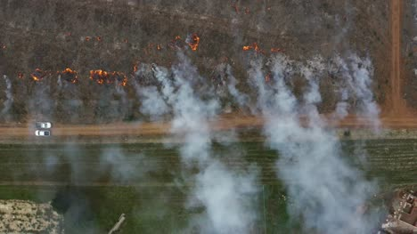Aerial-View-Of-Controlled-Fire