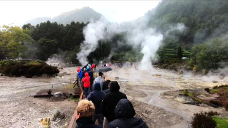 Tourists-Walking-Through-Volcanic-Springs-at-Furnas