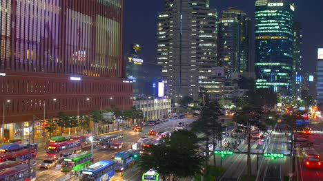 Buses-by-Seoul-Station-at-Night