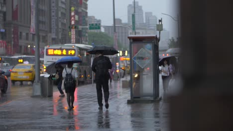 Commuters-Walking-Through-Rainy-Streets-Taipei