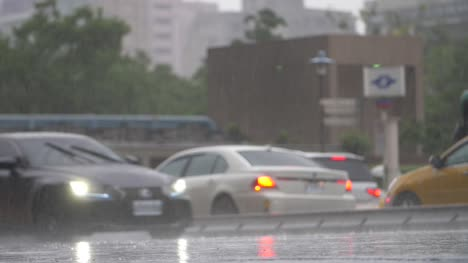 Car-Driving-Through-Heavy-Rain