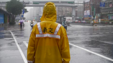 Traffic-Officer-in-Heavy-Rain-in-Taipei