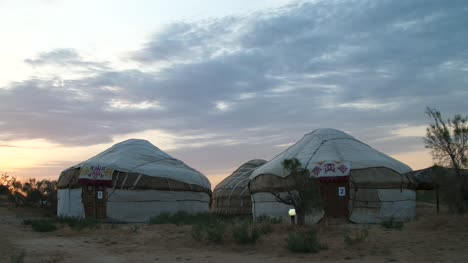Yurts-in-Desert-at-Dusk