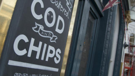 Fish-And-Chips-Sign-Outside-London-Pub