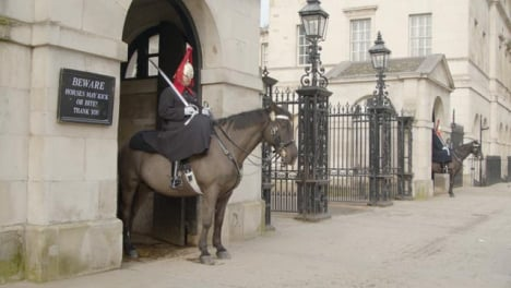 Horse-Guards-Of-The-Household-Cavalry-At-Empty-Whitehall