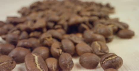 Close-Up-of-Coffee-Beans-Dropping-in-Front-of-Camera