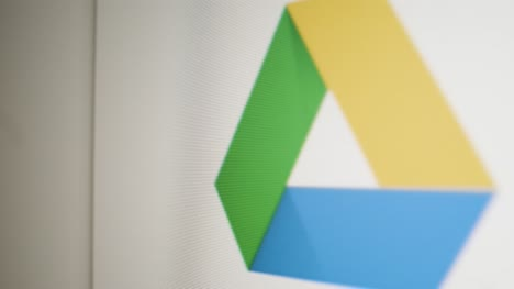 Close-Up-Pan-Clicking-on-Google-Drive-Icon-on-Screen