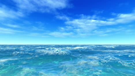 Flying-Over-Bright-Blue-Open-Ocean