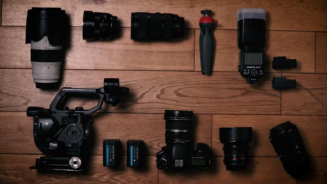 Flat-Lay-Stop-Motion-Clip-Camera-Gear-Sliding-Out-of-Frame