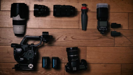 Flat-Lay-Stop-Motion-Clip-Camera-Gear-Sliding-Into-Frame