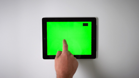 Flat-Lay-Tablet-Green-Screen-Finger-Scrolling-Top-Right