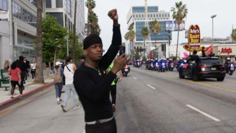 Hollywood-Black-Man-Filming-Cars-During-Protests