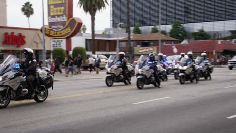 Hollywood-Pan-of-Police-Motorbike-Convoy-During-Protests