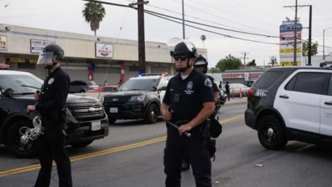 Hollywood-Police-Officers-Holding-Batons-During-Protest