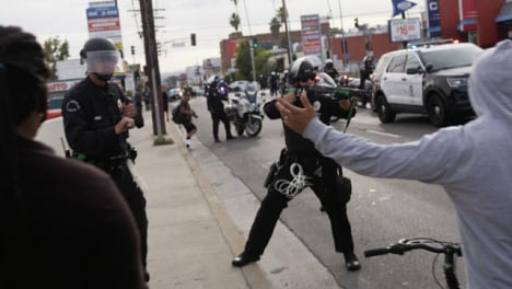 Hollywood-Police-Confrontation-with-Protesters