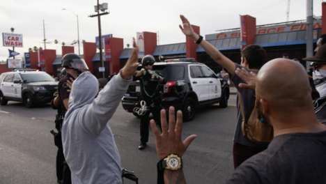 Hollywood-Tense-Stand-Off-Between-Police-and-Protesters