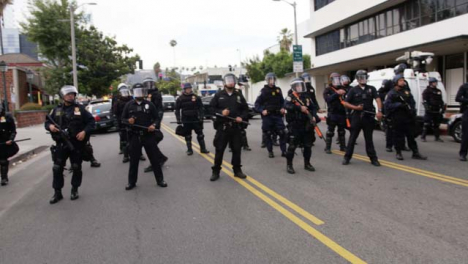 Hollywood-Lines-of-Police-Officers-Blocking-Street-During-Protest