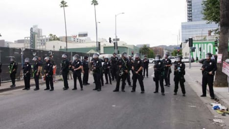 Hollywood-Police-Officers-Blocking-Street-During-Protest