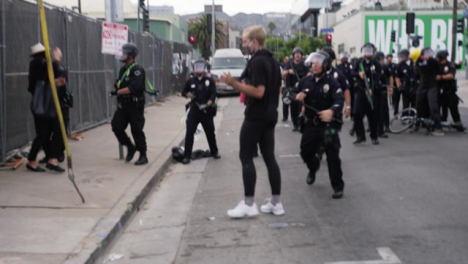 Hollywood-Protesters-Pushed-Against-Fence-During-Protest