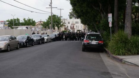Hollywood-Streets-Blocked-by-Police-During-Protest
