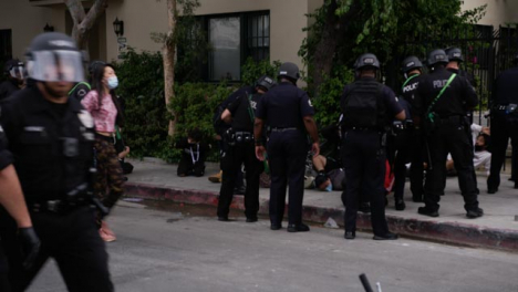 Hollywood-Arrested-Protester-Lying-on-Ground-After-Protest