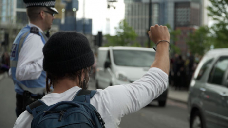 London-BLM-Protestor-Holding-Fist-in-Air