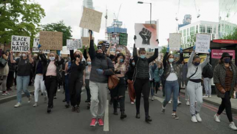 London-BLM-Protestors-Marching-Through-Streets