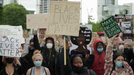 London-BLM-Protestors-Holding-Signs-and-Marching-