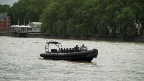 Police-Boat-Sitting-Stationary-On-a-River
