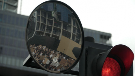 Marching-and-Chanting-BLM-London-Protestors-Reflected-in-Convex-Mirror