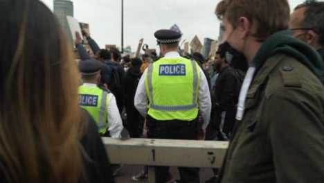 London-Police-Amongst-Crowd-of-Marching-Protesters-