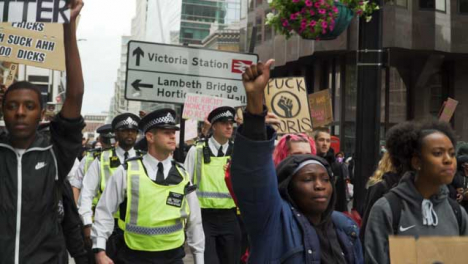 London-Protesters-Chant-Beside-Police-Officers