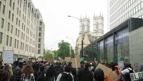 London-Black-Lives-Matter-Protesters-Marching-Towards-Westminster-Abbey